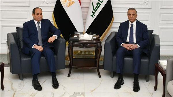 الرئيس السيسى يجرى مباحثات ثنائية مع «الكاظمى» فى بغداد