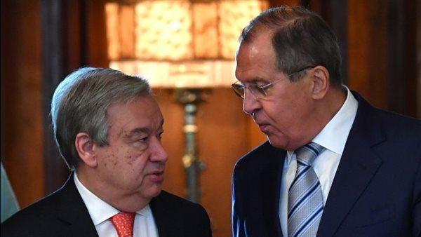 لافروف وجوتيريش يبحثان أوضاع أفغانستان وسوريا وليبيا